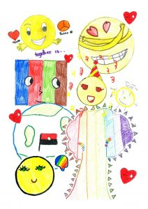 Pictures from primary school aged children including hearts and rainbows